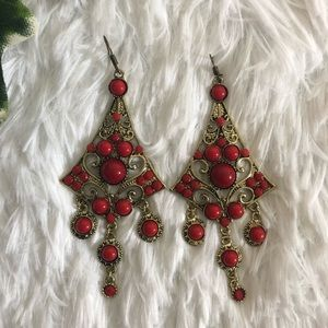 Jewelry - Red/Gold Vintage Bead Earrings